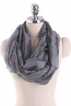 Musical Note Printed Soft And Warm Scarf Black