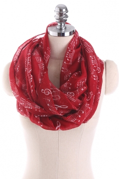 Musical Note Printed Soft And Warm Scarf Ruby