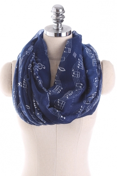 Musical Note Printed Soft And Warm Scarf Navy Blue