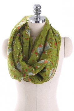Womens Soft And Warm Birds Printed Scarf Army Green