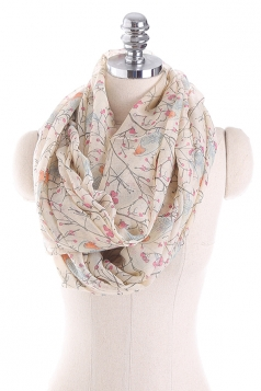 Womens Soft And Warm Birds Printed Scarf Beige White