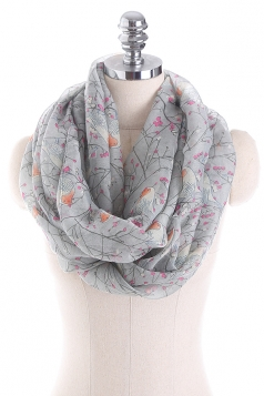 Womens Soft And Warm Birds Printed Scarf Gray
