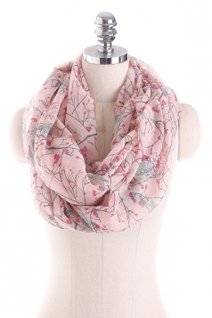 Womens Soft And Warm Birds Printed Scarf Pink