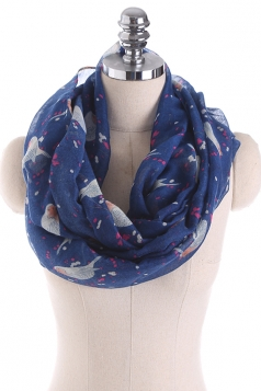 Womens Soft And Warm Birds Printed Scarf Navy Blue