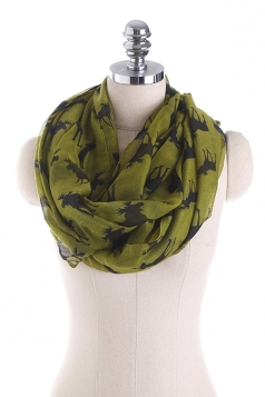 Reindeer Printed Warm And Soft Scarf Army Green