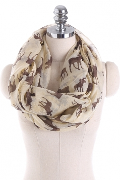 Reindeer Printed Warm And Soft Scarf Gray