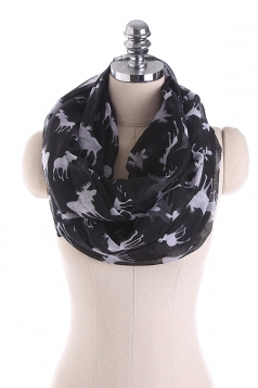 Reindeer Printed Warm And Soft Scarf Black