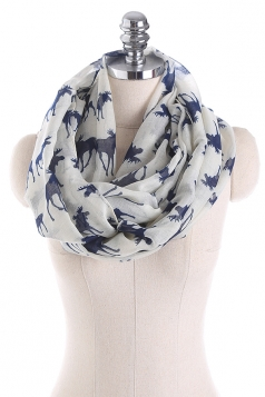 Reindeer Printed Warm And Soft Scarf Beige White