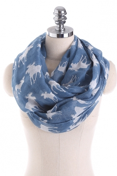 Reindeer Printed Warm And Soft Scarf Light Blue
