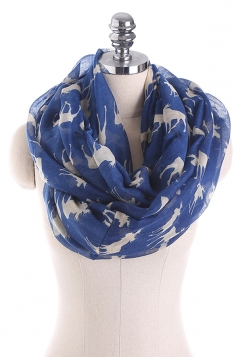 Reindeer Printed Warm And Soft Scarf Navy Blue