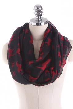 Horses Printed Warm And Soft Scarf Black