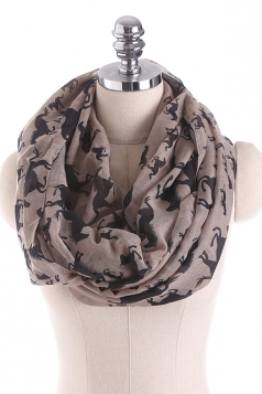 Horses Printed Warm And Soft Scarf Khaki