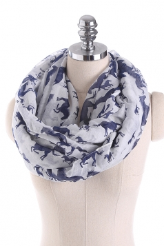 Horses Printed Warm And Soft Scarf White