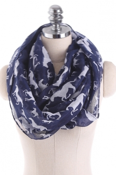 Horses Printed Warm And Soft Scarf Navy Blue
