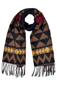 Womens Triangle Printed Shawl Scarf With Fringe Coffee