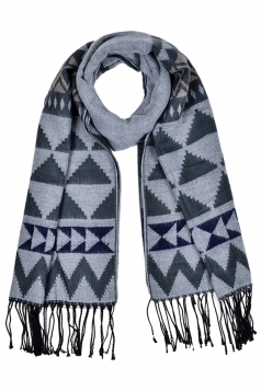 Womens Triangle Printed Shawl Scarf With Fringe Light Gray