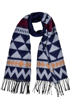 Womens Triangle Printed Shawl Scarf With Fringe Navy Blue