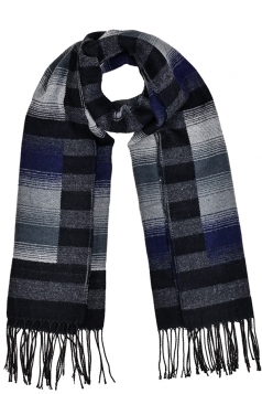 Stripes Gradient Printed Shawl Scarf With Fringe Black