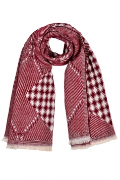 Classic Plaid Pattern Tassel Shawl Scarf Ruby