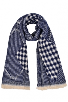 Classic Plaid Pattern Tassel Shawl Scarf Navy Blue