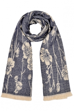 Womens Flower Pattern Thick Scarf With Tassel Blue
