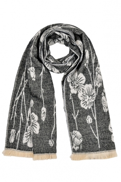Womens Flower Pattern Thick Scarf With Tassel Black
