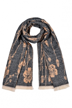 Womens Flower Pattern Thick Scarf With Tassel Dark Gray