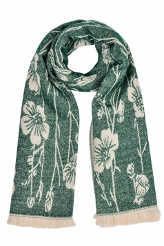 Womens Flower Pattern Thick Scarf With Tassel Green