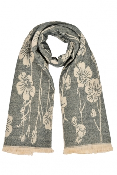 Womens Flower Pattern Thick Scarf With Tassel Light Gray