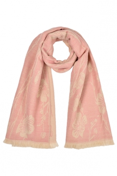 Womens Flower Pattern Thick Scarf With Tassel Pink