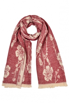 Womens Flower Pattern Thick Scarf With Tassel Ruby