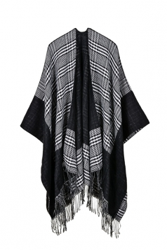 Womens Pattern Thick Poncho With Fringe Gray