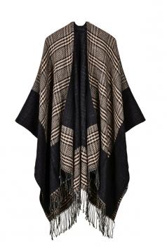 Womens Pattern Thick Poncho With Fringe Khaki