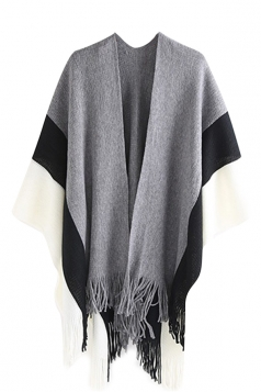 Womens Pattern Thick Poncho With Fringe Light Gray