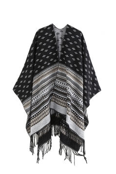 Womens Pattern Thick Shawl Poncho With Fringe Black
