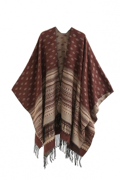 Womens Pattern Thick Shawl Poncho With Fringe Coffee