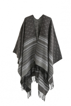 Womens Pattern Thick Shawl Poncho With Fringe Gray