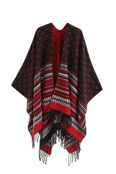 Womens Pattern Thick Shawl Poncho With Fringe Ruby