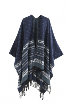 Womens Pattern Thick Shawl Poncho With Fringe Navy Blue