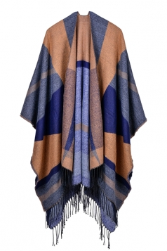 Both Sides Color Block Fringe Shawl Poncho For Women Yellow