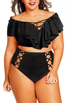 Women Sexy Ruffle Cross String Hollow Out 2Pcs Swimsuit Black