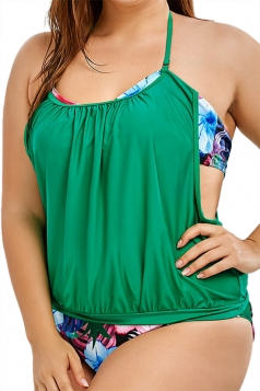 Plus Size Halter Floral Printed Two Pieces Swimsuit Green