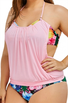 Plus Size Halter Floral Printed Two Pieces Swimsuit Pink