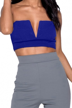 Women Sexy Deep V-Neck Wrap Corset Plain Crop Top Sapphire Blue