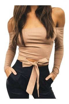 Sexy Off Shoulder Long Sleeve Bow Waist Back Zipper Top Khaki