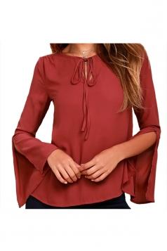 Tie Neck Split Flare Long Sleeve Blouse Dark Red
