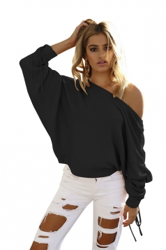 Sexy One Shoulder Pleated Draw String Sleeve Loose Top Black
