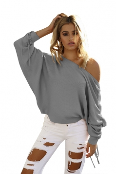 Sexy One Shoulder Pleated Draw String Sleeve Loose Top Gray