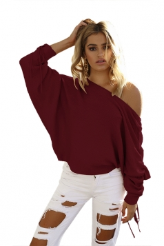 Sexy One Shoulder Pleated Draw String Sleeve Loose Top Ruby