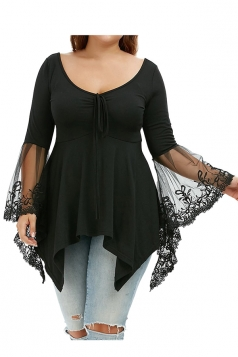 Plus Size Lace Patchwork Butterfly Sleeve Tunic Shirt Black